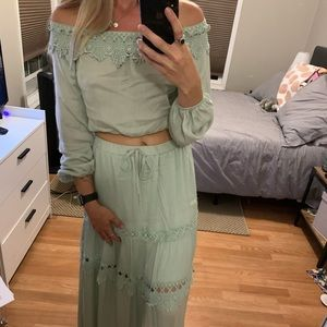 bisou's project Skirts - BoHo Maxi Skirt and Matching off the shoulder crop
